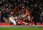 England's Anthony Watson scores his sides first try<br /> <br /> Photo by Ian Cook/CameraSport<br /> <br /> Rugby Union - RBS 6 Nations Championships 2015 - Wales v England - Friday 6th February 2015 - Millennium Stadium - Cardiff<br /> <br /> &copy; CameraSport - 43 Linden Ave. Countesthorpe. Leicester. England. LE8 5PG - Tel: +44 (0) 116 277 4147 - admin@camerasport.com - www.camerasport.com
