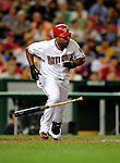 21 August 2009: Washington Nationals' infielder Ronnie Belliard singles in the 5th inning against the Milwaukee Brewers at Nationals Park in Washington, DC. The Nationals fell to the Brewers 7-3, in the first game of their four-game series. Mandatory Credit: Ed Wolfstein Photo