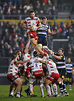 Mariano Galarza of Gloucester Rugby wins the ball at a lineout. Aviva Premiership match, between Bath Rugby and Gloucester Rugby on February 5, 2016 at the Recreation Ground in Bath, England. Photo by: Patrick Khachfe / Onside Images