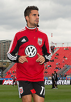 06 October 2012: D.C. United midfielder Marcelo Saragosa #11 coming off the pitch after warm-up in an MLS game between D.C. United and Toronto FC at BMO Field in Toronto, Ontario..D.C. United won 1-0..