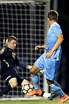 16 September 2016: North Carolina's Nils Bruening (GER) (right) watches his shot get saved by Pitt's Mikal Outcalt (00). The University of North Carolina Tar Heels hosted the University of Pittsburgh Panthers in Chapel Hill, North Carolina in a 2016 NCAA Division I Men's Soccer match. UNC won the game 1-0.