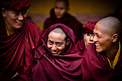 "Buddhist nuns gather to witness dancers perform at the Hemis Monastery (gompa) of the Drukpa Lineage, located in Hemis, 45 kms away from Leh in Ladakh. ..His Holiness the Twelfth Gyalwang Drukpa, the head of the Drukpa Lineage (proponents of the Mahayana Buddhist tradition) ended his ""Walking On The World's Rooftop"" Pad Yatra from Manali to Hemis Monestary in Ladakh."