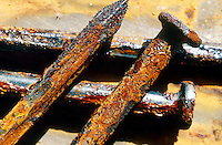 RUST<br /> Iron Nails<br /> In moist conditions iron is rapidly oxidized by oxygen to form rust, a mixture of iron oxides.