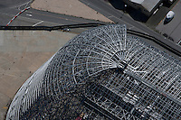aerial photograph construction Hangar One, Moffett Field, Mountain View, California