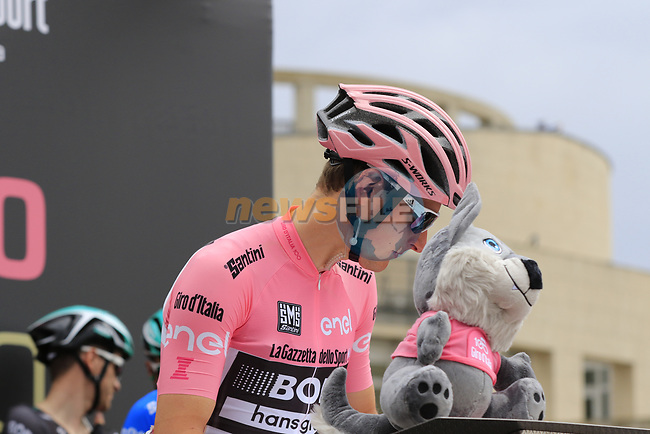 Race leader Maglia Rosa wearer Lukas Postlberger (AUT) Bora-Hansgrohe at sign on before Stage 2 of the 100th edition of the Giro d'Italia 2017, running 221km from Olbia to Tortoli, Sardinia, Italy. 6th May 2017.<br /> Picture: Ann Clarke   Cyclefile<br /> <br /> <br /> All photos usage must carry mandatory copyright credit (&copy; Cyclefile   Ann Clarke)