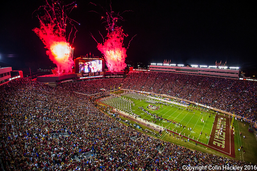 TALLAHASSEE, FLA. 11/26/16-Fireworks explode at the start of the Florida State University versus University of Florida football gameat Doak Campbell Stadium in Tallahassee.<br /> <br /> COLIN HACKLEY PHOTO
