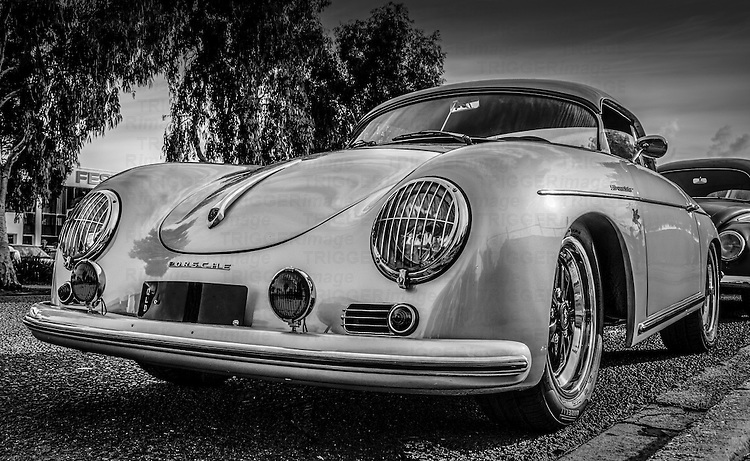Black and white image of 1950's Porsche Speedster