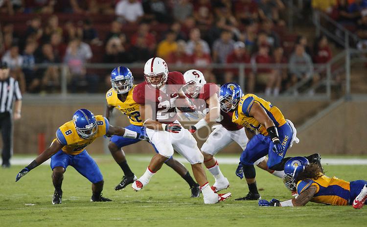 STANFORD,CA-- September 7, 2013: Tyler Gaffney during the Stanford vs San Jose State University game Saturday night at Stanford Stadium.<br /> <br /> Stanford won 34-13.