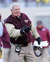 Nov 27, 2010; Charlottesville, VA, USA;  Virginia Tech head coach Frank Beamer during the game against the Virginia Cavaliers at Lane Stadium. Virginia Tech won 37-7. Mandatory Credit: Andrew Shurtleff-