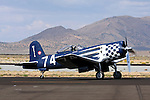 Goodyear built F2G-1 Super Corsair, piloted by Bob Odegaard, taxies along the ramp at Stead Field in Nevada during the 2011 Reno Air Races. The aircraft was previously owned by Cook Cleland and raced in the Tinnerman and Thompson Trophy Races in the 1940's following World War II.