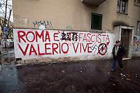 Roma 10 Febbraio 2010.Svastiche  su  scritte che commemorano Valerio Verbano ucciso  dai fascisti 30anni fà al quartiere Tufello