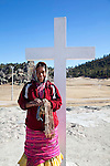 Tarahumana indian woman, Valley Arareko, Church, Creel, Copper Canyon, Chihuaua, Mexico