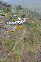 Swing Jumping Above Rio Pastaza, Ecuador