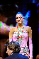 Evgeniya Kanaeva of Russia receives gold medal in event finals (winning every event) at 2009 Budapest World Cup on March 8, 2009 at Budapest, Hungary.  Photo by Tom Theobald.