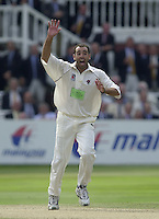 Photo Peter Spurrier.31/08/2002.Cheltenham & Gloucester Trophy Final - Lords.Somerset C.C vs YorkshireC.C..Somerset bowling Richard Johnson