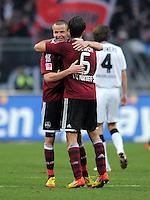 FUSSBALL   1. BUNDESLIGA  SAISON 2011/2012   24. Spieltag 1. FC Nuernberg - Borussia Moenchengladbach      04.03.2012 Adam Hlousek (li.) mit Dominic Maroh (1 FC Nuernberg)