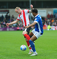 Lincoln City's Bradley Wood vies for possession with Macclesfield Town's Jack Mackreth<br /> <br /> Photographer Andrew Vaughan/CameraSport<br /> <br /> Vanarama National League - Lincoln City v Macclesfield Town - Saturday 22nd April 2017 - Sincil Bank - Lincoln<br /> <br /> World Copyright &copy; 2017 CameraSport. All rights reserved. 43 Linden Ave. Countesthorpe. Leicester. England. LE8 5PG - Tel: +44 (0) 116 277 4147 - admin@camerasport.com - www.camerasport.com