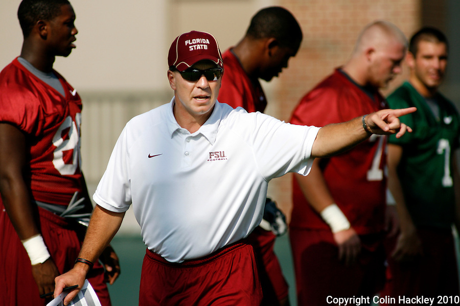 TALLAHASSEE, FL 8/5/10 FSU 080510 CH-Florida State Head Coach Jimbo Fisher directs the team during the first day of practice Thursday in Tallahassee. .COLIN HACKLEY PHOTO