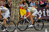 Professional cyclist Bert Gragsch rides  down the Champs Elysees in Paris during the final stage of the Tour de France, July 25th 2010
