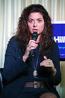 GLENSIDE PA - JULY 20 : Actress Debra Messing pictured highlighting the dangerous candidacy of Donald Trump and Mike Pence at Dino's Backstage & The Celebrity Room in Glenside, Pa on July 20, 2016  photo credit Star Shooter/MediaPunch