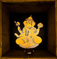 Decorative artwork of deity Ganesh at the Hotel Oberoi Amarvilas. (Photo by Matt Considine - Images of Asia Collection)
