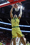 18 February 2017: Notre Dame's Austin Torres dunks the ball. The North Carolina State University Wolfpack hosted the University of Notre Dame Fighting Irish at the PNC Arena in Raleigh, North Carolina in a 2016-17 Division I Men's Basketball game. Notre Dame won the game 81-72.