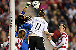 20 October 2012: Hope Solo (USA) (1) punches the ball away from Anja Mittag (GER) (11) and Abby Wambach (USA) (right). The United States Women's National Team played the Germany Women's National Team at Toyota Park in Bridgeview, Illinois in a women's international friendly soccer match. The game ended in a 1-1 tie.