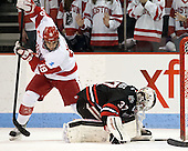 Matt Nieto (BU - 19), Chris Rawlings (NU - 37) - The visiting Northeastern University Huskies defeated the Boston University Terriers 6-5 on Friday, January 18, 2013, at Agganis Arena in Boston, Massachusetts.