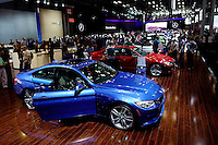 BMW and Mercedes Benz cars are seen while people attend the International Auto Show 2015 in New York. 04.06.2015. Eduardo MunozAlvarez/VIEWpress.