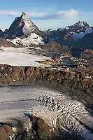 The Matterhorn, distinctive, steep pyramidal shape rises 4478 meters high in the Alps.