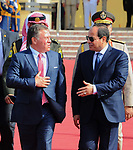 Egyptian President Abdel Fattah al-Sisi walks alongside with Jordan's King Abdullah II before he leaves the Egyptian capital Cairo,  on May 17, 2017. Photo by Egyptian President Office