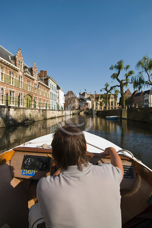 Belgium, Ghent, Sightseeing boat on canal