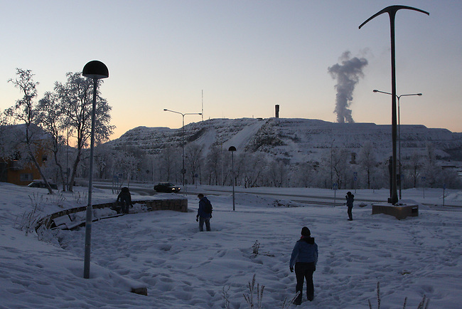 Midday in the frozen north, with the world's largest iron mine in the distance. Kiruna, Sweden. Dec. 31, 2007.