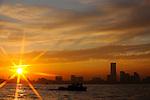 Freighter vessels pass through the main shipping port  in Yokohama, Japan. .Photographer: Robert Gilhooly