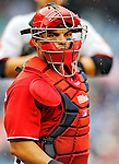 1 May 2011: Washington Nationals catcher Ivan Rodriguez looks back to the dugout for a signal during a game against the San Francisco Giants at Nationals Park in Washington, District of Columbia. The Nationals defeated the Giants 5-2. Mandatory Credit: Ed Wolfstein Photo