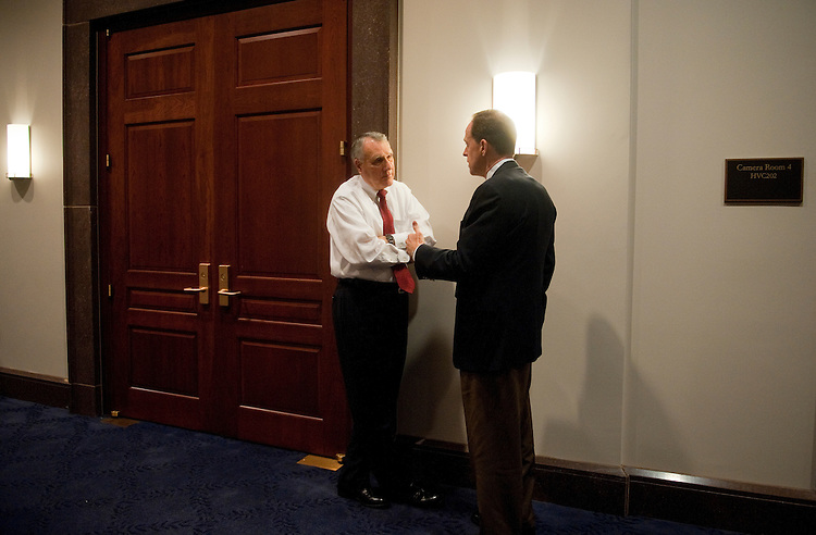 UNITED STATES - OCTOBER 04:  Sens. Jon Kyl, R-Ariz., left, and Pat Toomey, R-Pa., confer before a meeting of the Joint Committee on Deficit Reduction, also known as the super committee, in the Capitol Visitor Center.  (Photo By Tom Williams/Roll Call)