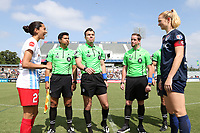 Cary, North Carolina  - Sunday May 21, 2017: Rosendo Mendoza, flanked by (from left) Christen Press, Francisco Bermudez, John Collins, and Samantha Mewis, flips the coin prior to a regular season National Women's Soccer League (NWSL) match between the North Carolina Courage and the Chicago Red Stars at Sahlen's Stadium at WakeMed Soccer Park. Chicago won the game 3-1.