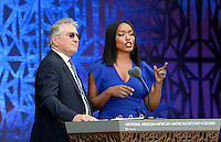 Robert De Niro and Angela Bassett speak at  the opening ceremony of the Smithsonian National Museum of African American History and Culture on September 24, 2016 in Washington, DC. The museum is opening thirteen years after Congress and President George W. Bush authorized its construction.<br /> Credit: Olivier Douliery / Pool via CNP / MediaPunch