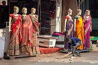 Agra, India.  Street Scene, Kinari Bazaar Area.  Mannequins Modeling Sarees