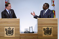 The Prime minister of Zimbabwe (R Dr the Rt Hon Morgan Tavangirai speaks to the media with the Prime Minister of New Zealand John Key during a joint press conference at the Beehive, Wellington, New Zealand, Wednesday, July 25, 2012. Credit:SNPA / Marty Melville