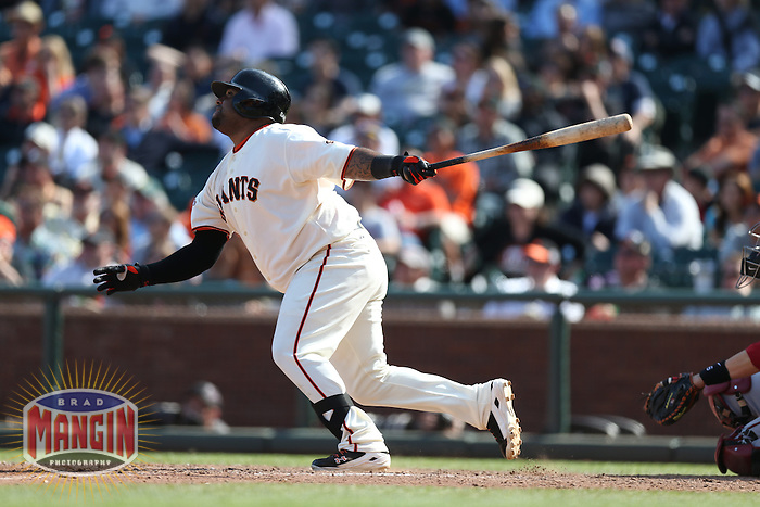 SAN FRANCISCO, CA - APRIL 24:  Pablo Sandoval #48 of the San Francisco Giants bats against the Arizona Diamondbacks during the game at AT&T Park on Wednesday, April 24, 2013 in San Francisco, California. Photo by Brad Mangin