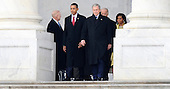 Washington, DC - January 20, 2009 -- United States President Barack Obama (L) walks with Former President George W. Bush (R) on the East Front of the US Capitol Building after Barack Obama was sworn in as the 44th President of the United States in Washington, DC, USA 20 January 2009.  Obama defeated Republican candidate John McCain on Election Day 04 November 2008 to become the next U.S. President..Credit: Tannen Maury - Pool via CNP