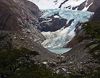 Glacier Piedras Blancas, a hanging glacier near the town of El Chalten in Parque Nacional los Glaciares (Norte), Argentina.