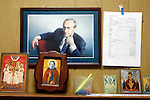 "Photo by Heathcliff Omalley..Yekaterinburg 7 November 2007.Portrait of Russian President Vladimir Putin and Russian Orthodox paraphernalia at the  ""Clinic of the Yekaterinburg City without Drugs"" founded  by Yevgeny Roizman, suspected ex-Russian Mafia and member of the Duma (Parliament) , where addicts are handcuffed to their beds for the first 27 days of their rehabilitation..Yekaterinburg was the site of the slaughter by Bolsheviks revolutionaries of the Tsar Nicholas and his family in 1918 and in the 1990's suffered from open Mafia warfare on it's streets but is now a thriving city once again."