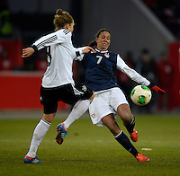 Offenbach, Germany, Friday, April 05 2013: Womans, Germany vs. USA, in the Stadium in Offenbach,   Shannon Boxx (USA).