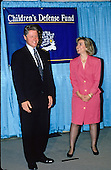 United States President-elect Bill Clinton and his wife, Hillary Rodham Clinton, attend the Children's Defense Fund dinner in Washington, D.C. on November 18, 1992..Credit: Jeff Markowitz / Pool via CNP