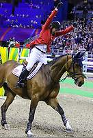 OMAHA, NEBRASKA - APR 2: McLain Ward celebrates his victory aboard HH Azur during the Longines FEI World Cup Jumping Final at the CenturyLink Center on April 2, 2017 in Omaha, Nebraska. (Photo by Taylor Pence/Eclipse Sportswire/Getty Images)