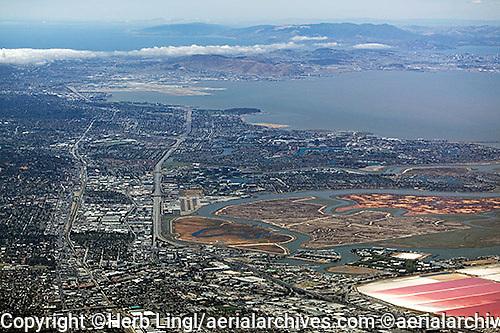high overview aerial photograph Redwood City, Redwood Shores San Carlos, Bayshore Freeway, Foster City,Bair Island San Mateo county, California