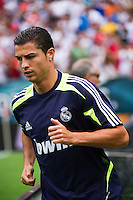Cristiano Ronaldo (7) of Real Madrid takes the field for warmups prior to playing Celtic F. C. during a 2012 Herbalife World Football Challenge match at Lincoln Financial Field in Philadelphia, PA, on August 11, 2012.