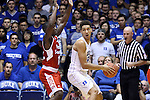 30 October 2015: Duke's Chase Jeter (2) and Florida Southern's Dominique Williams (12). The Duke University Blue Devils hosted the Florida Southern College Moccasins at Cameron Indoor Stadium in Durham, North Carolina in a 2015-16 NCAA Men's Basketball Exhibition game. Duke won the game 112-68.